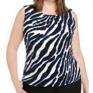 Calvin Klein Sleeveless Animal Print Top  1X  NWT